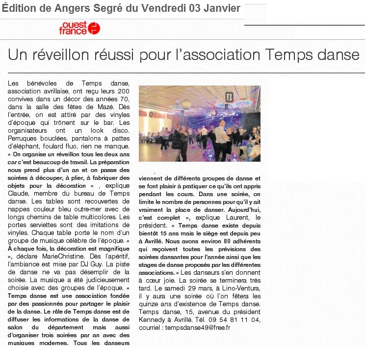 Article Ouest France le 3 janvier 2014